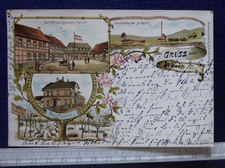 Wienrode-Postkarte-1903-Gasthof-zum-Deutschen-Kaiser-Flagge-Kutsche-Zugpost-Halberstadt-Tanne